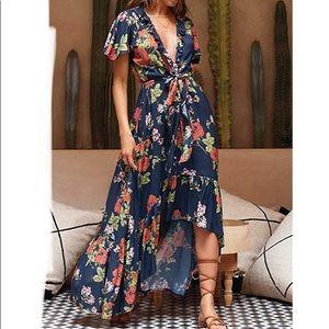 Violet Low V Neck High Low Maxi Dress